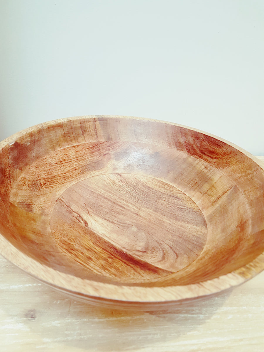 Ridged Carved Wooden Bowl