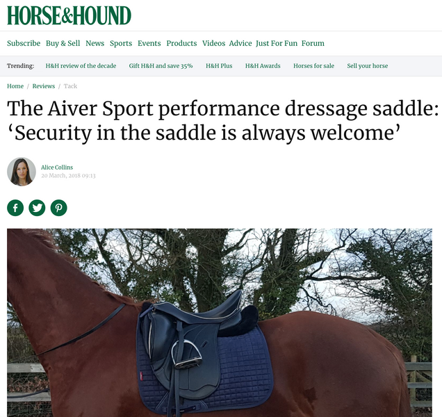 "Horse and Hound: Aiver Saddle is ""Secure"" and ""Stylish"""