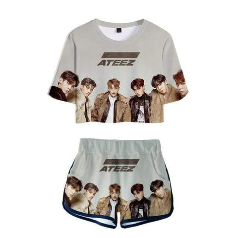 Kpop Merchandise Online Clothing ATEEZ Gym Clothes Short Sleeve & Tshirt Shorts