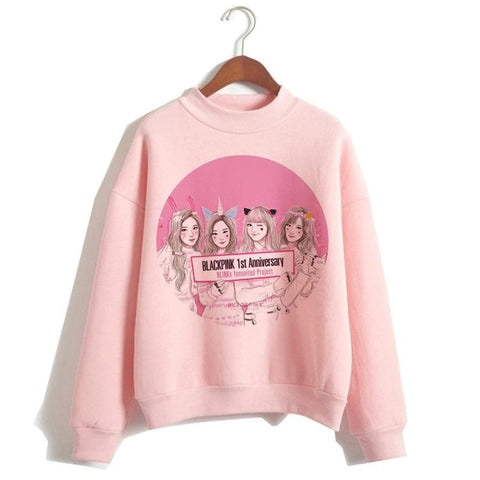 Kpop Merchandise Online Clothing Blackpink Animated Cartoon Hoodies Special Edition