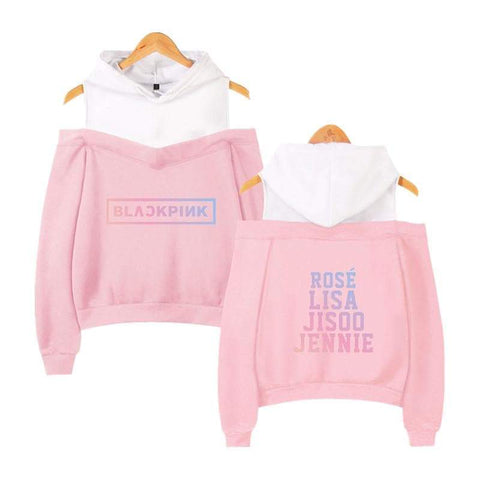 Kpop Merchandise Online Clothing Blackpink Cute Off Shoulder Sweatshirts