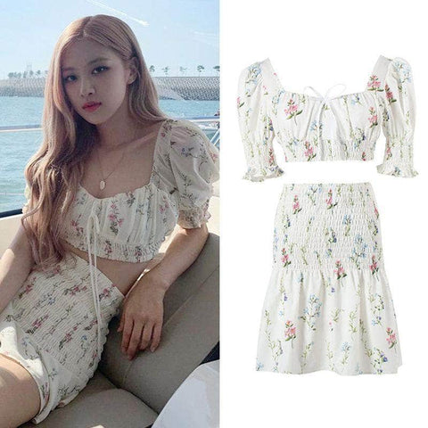 K-pop Fashion BLACKPINK Floral Chiffon Dress