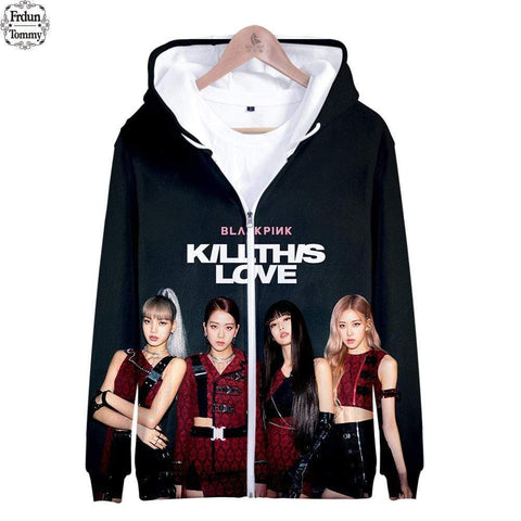 Kpop Merchandise Online Clothing BLACKPINK Kill This Love Print Zipper Hoodies