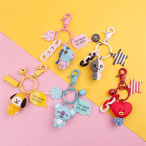 Official Kpop Merchandise Online 🥇 Accessories Decorated BT21 Keychain