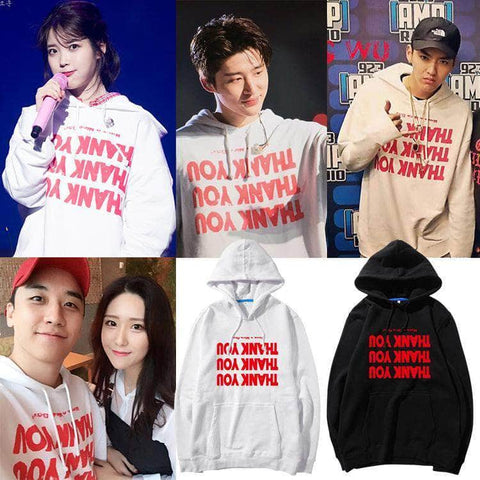 IDOLS FASHION HOODIE IU BIG BANG SEUNGRI IKON BI THANK YOU HOODIE