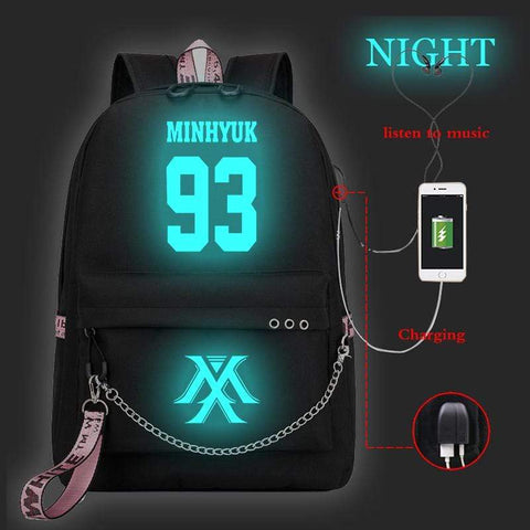 Kpop Merchandise Online Stationery MonstaX Glow in the Dark Backpack with Builtin Phone Charger