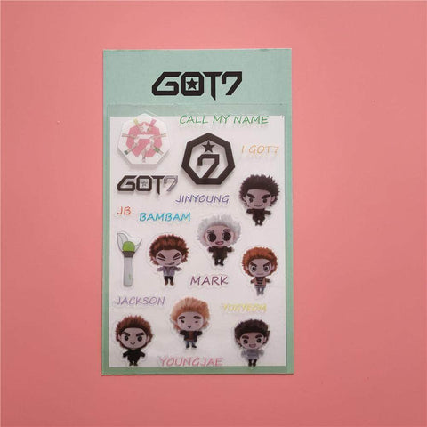 K-pop Fashion OFFICIAL GOT7 Three Generations of Fried doll Stickers