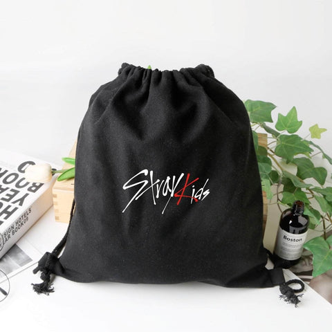 K-pop Fashion OFFICIAL Stray Kids Drawstring Canvas Backpack