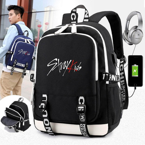 K-pop Fashion OFFICIAL Stray Kids USB Charging Backpack