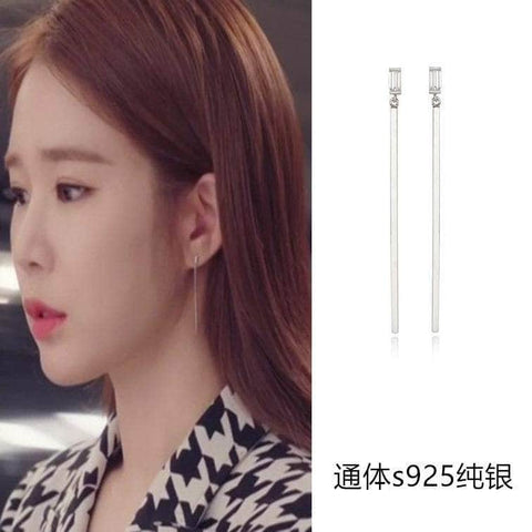 K-Dramatique Earrings OFFICIAL Touch Your Heart: Oh Jin Shim's Sterling Silver Long Earrings