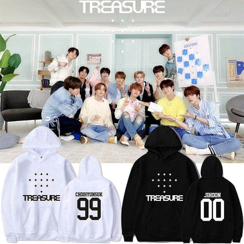 K-pop Fashion OFFICIAL TREASURE Album White Hoodie