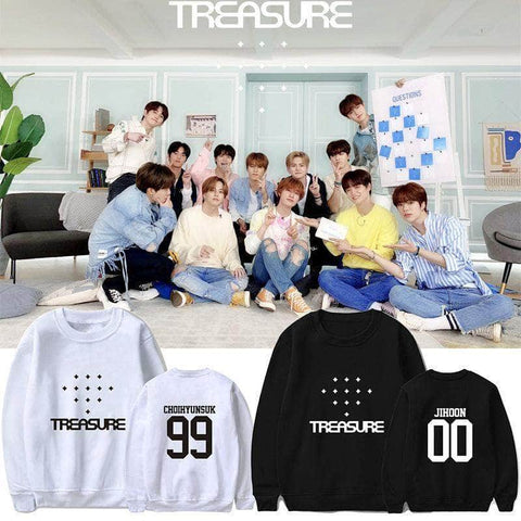 K-pop Fashion OFFICIAL TREASURE Album White Round Neck Sweater