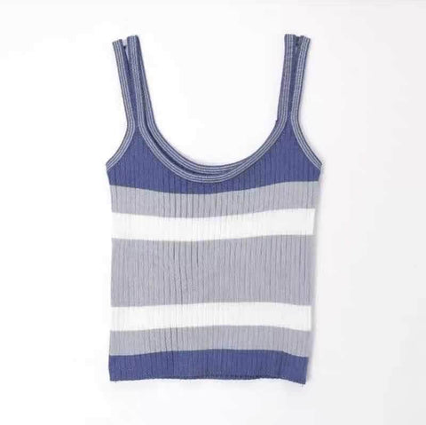 K-pop Fashion OFFICIAL TWICE MOMO Stripe Knitted Vest