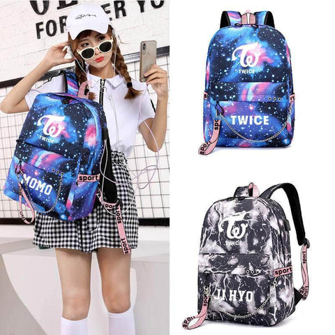 PartyPartyGo OFFICIAL TWICE Star Printed USB Charging Korean Backpack