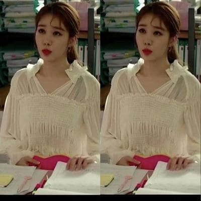 K-Dramatique Shirt Touch Your Heart: Oh Jin Shim's Loose White Blouse