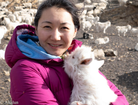 Alta and baby goat in Mongolia
