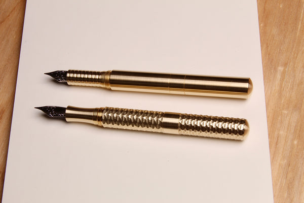"Solid Brass and Faceted Brass ""Pocket Six"" Fountain Pens"