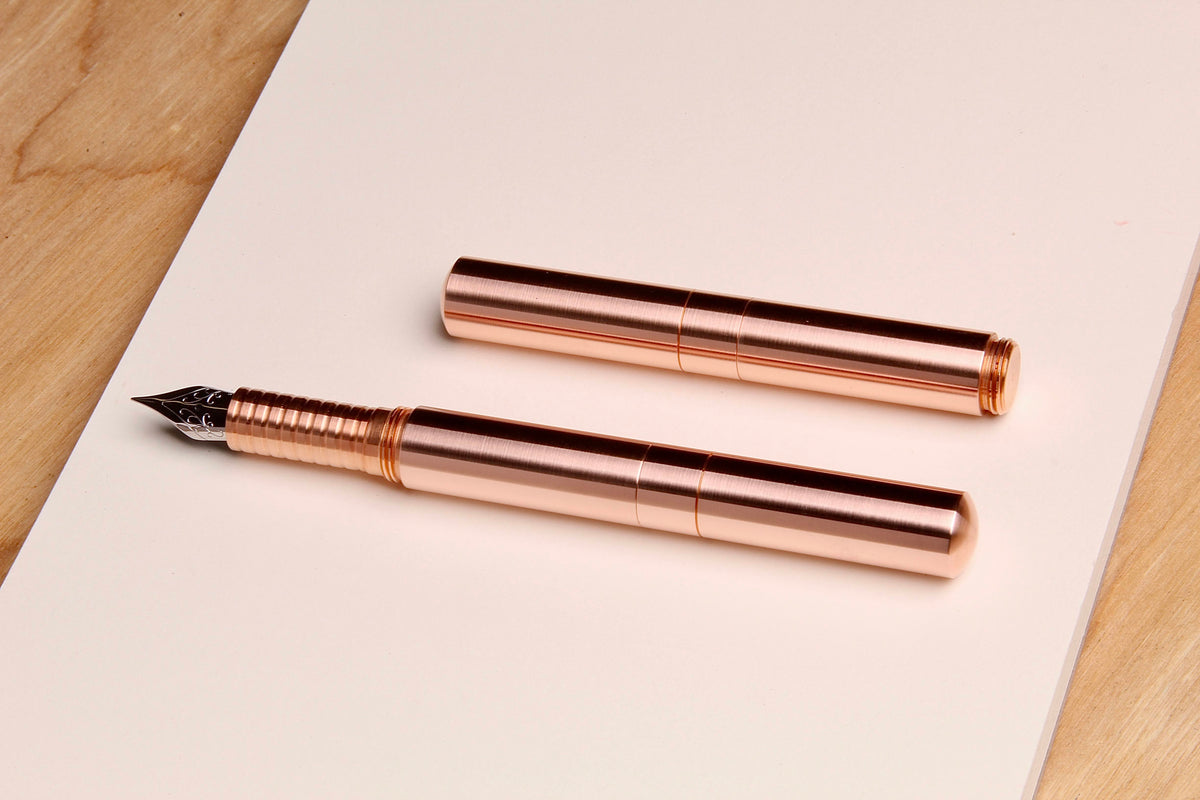 "Solid Copper and Faceted Copper  ""Pocket Six"" Fountain Pens"