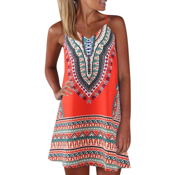 African Printed Mini Dress