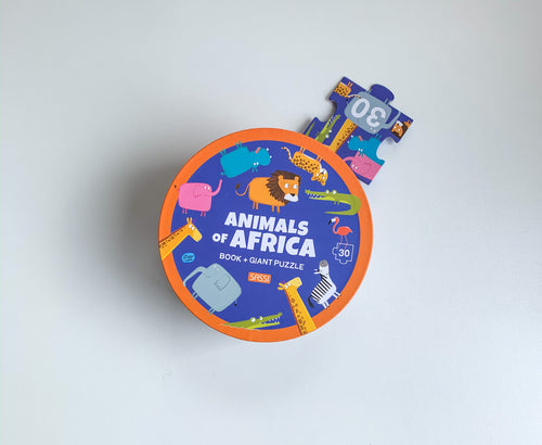 SASSI BOOK AND GIANT PUZZLE – AFRICAN ANIMALS 30 pcs