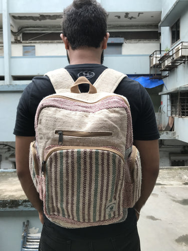 THC Hemp Chestnut & Basil Stripe Weave Premium Hemp Backpack