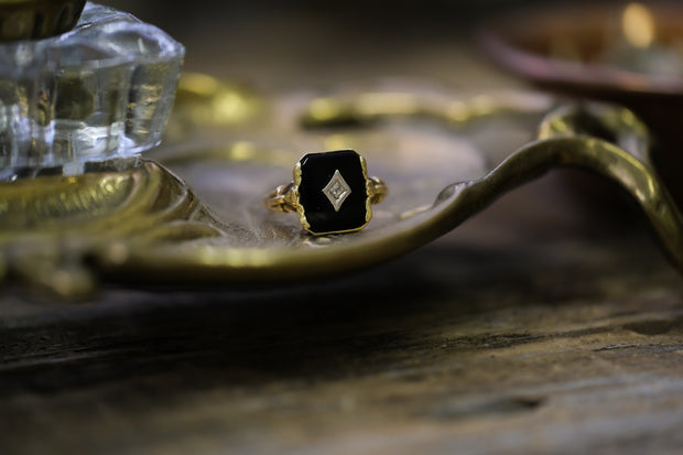 Antique Mourning Ring (Square)