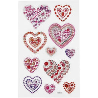 Heart rhinestone sticker sheet