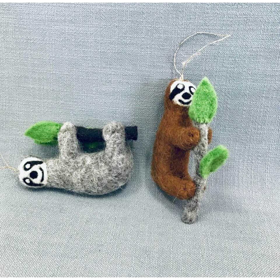 Wool Ornament - Sloth by The Winding Road