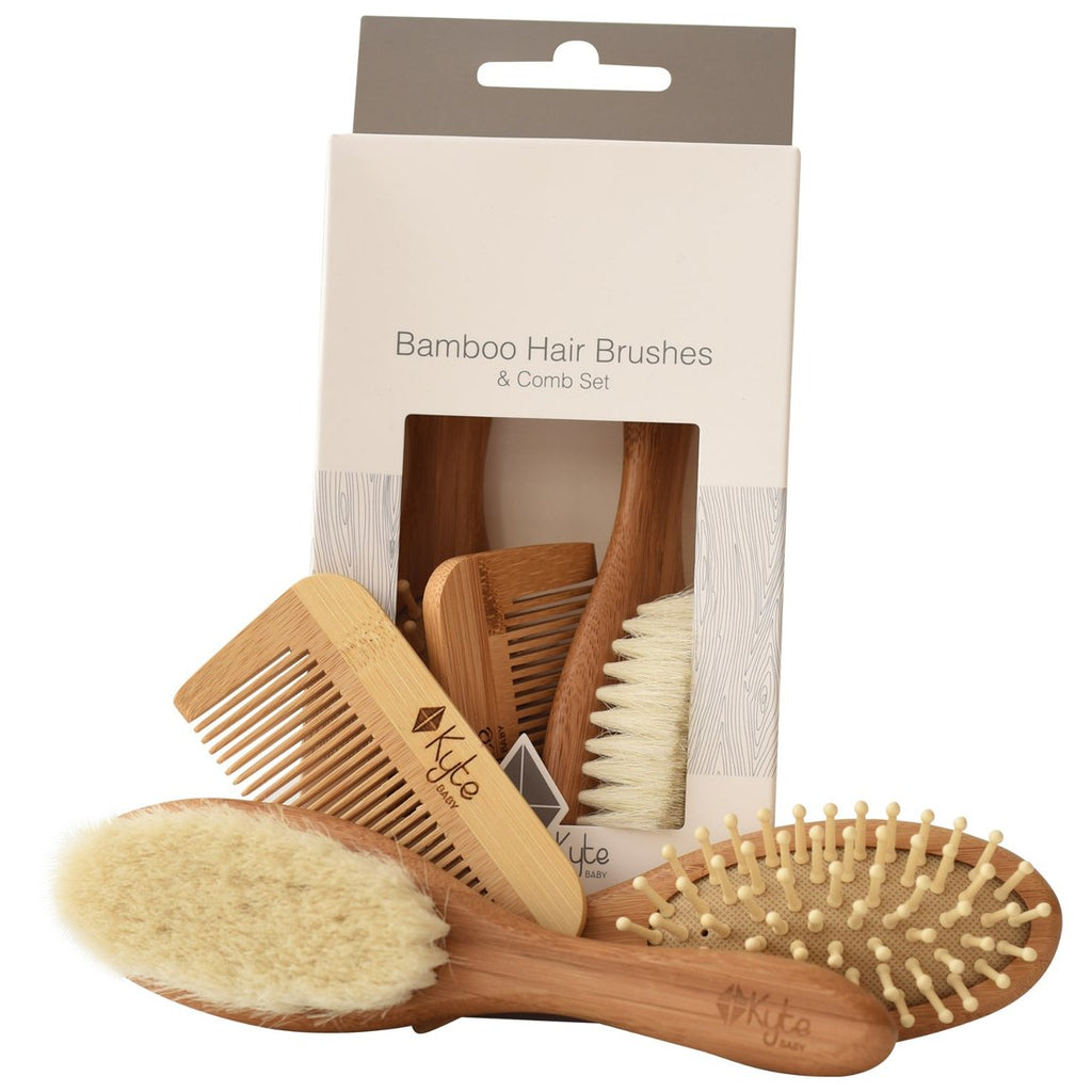 Bamboo Hair Brushes + Comb Set - 3 pieces by Kyte Baby Kyte Baby Bath + Potty
