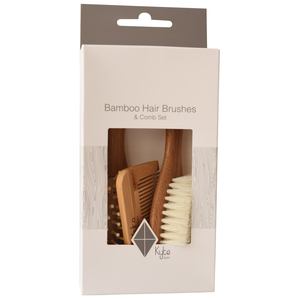 Bamboo Hair Brushes + Comb Set - 3 pieces by Kyte Baby
