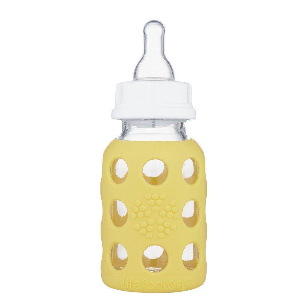 Lifefactory 4 oz Glass Baby Bottle with Silicone Sleeve - Banana
