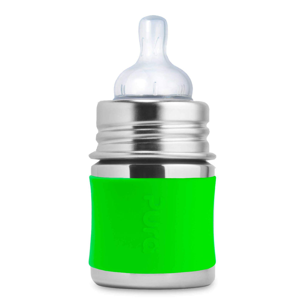 5 oz Stainless Baby Bottle with Silicone Sleeve - Green by Pura