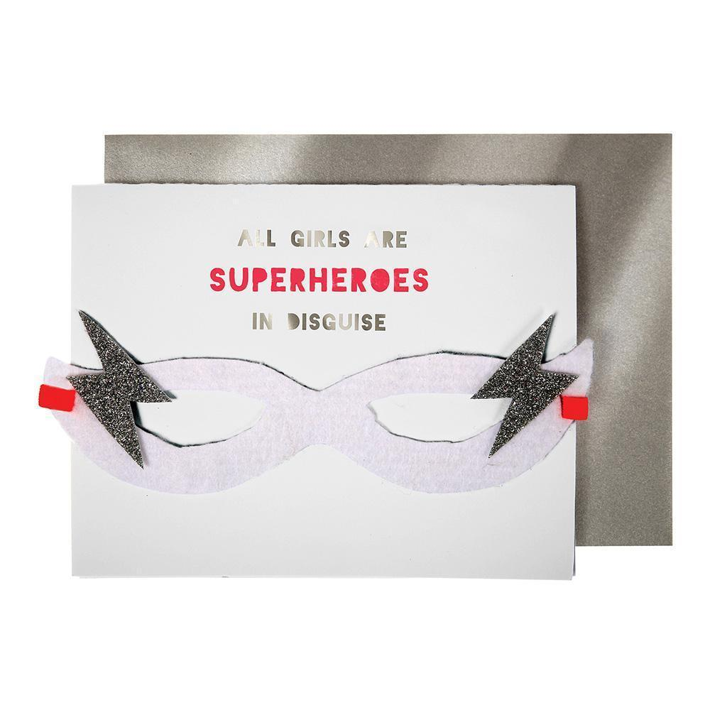 Girl Superhero Mask Card