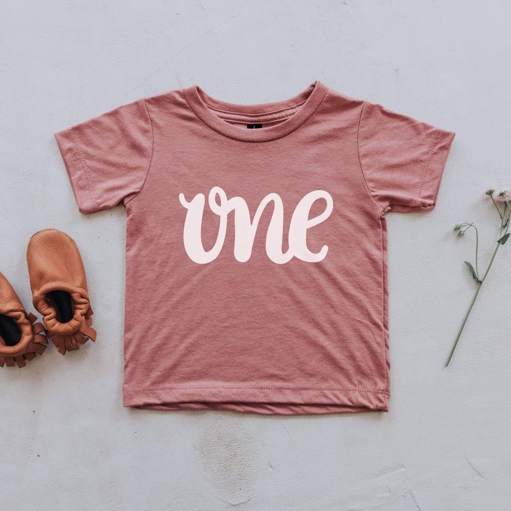ONE Birthday Tee - Mauve by The Oyster's Pearl