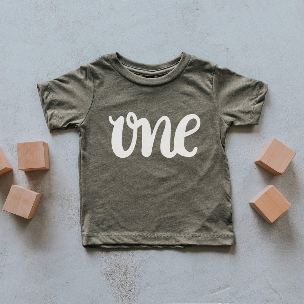 ONE Birthday Tee - Olive by Gladfolk