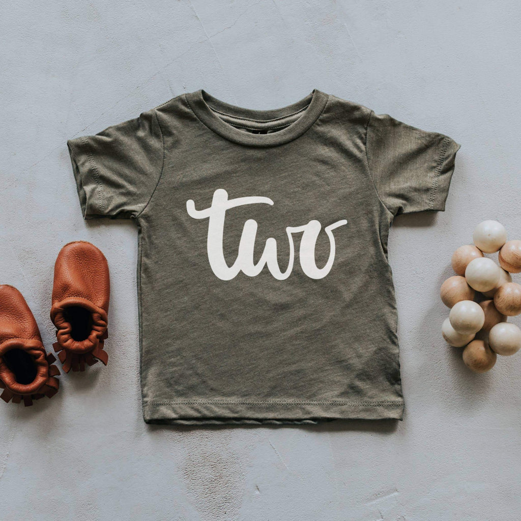 TWO Birthday Shirt - Olive by Gladfolk Gladfolk Apparel