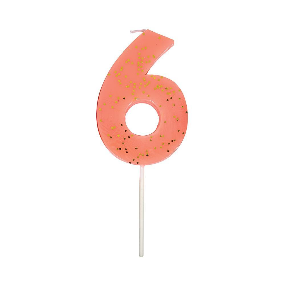 Coral Number 6 Candle by Meri Meri Meri Meri Paper Goods + Party Supplies