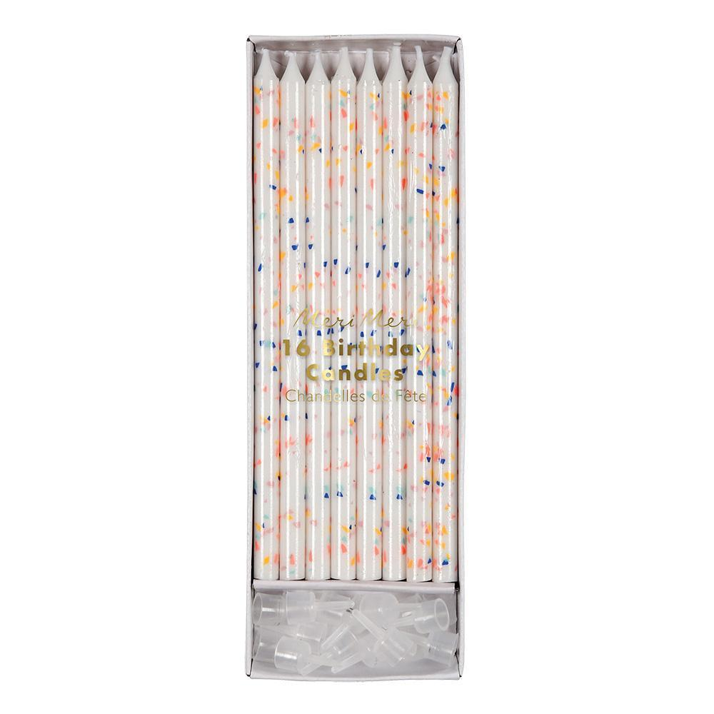 Multicolor Flecks Candles - 16 Pack by Meri Meri Meri Meri Paper Goods + Party Supplies