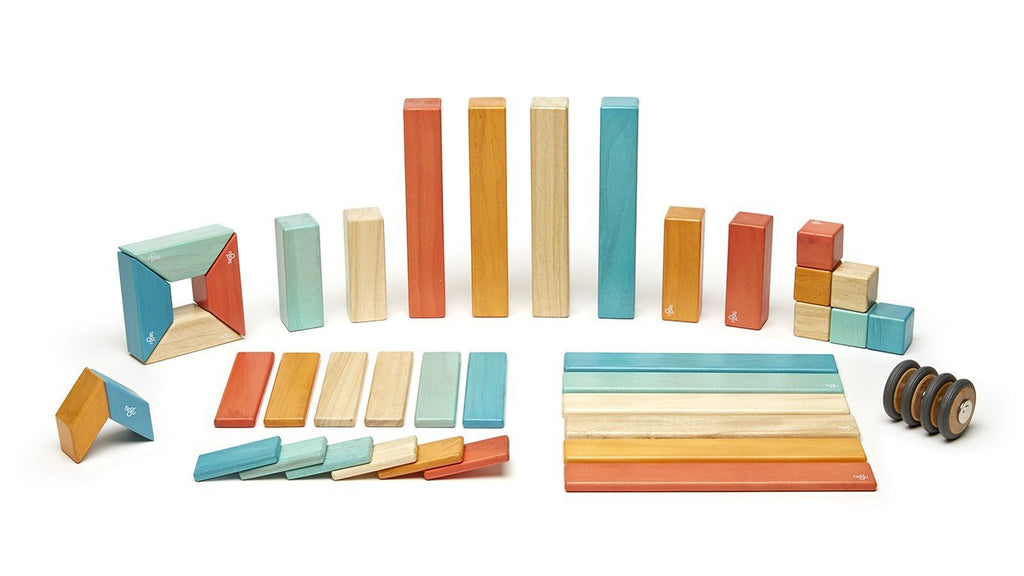 Magnetic Block Set 42 Pc Set - Sunset by Tegu - Pacifier