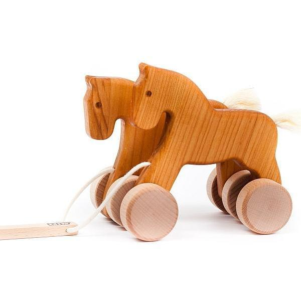 Galloping / Jumping Horses Toy in Natural by Little Poland Gallery