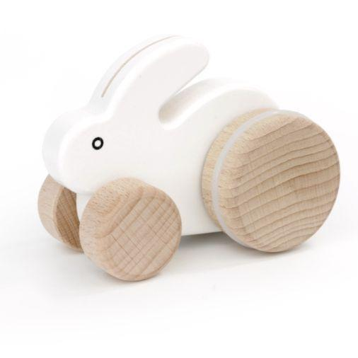 Small Hopping Rabbit Wooden Toy - White by Little Poland Gallery