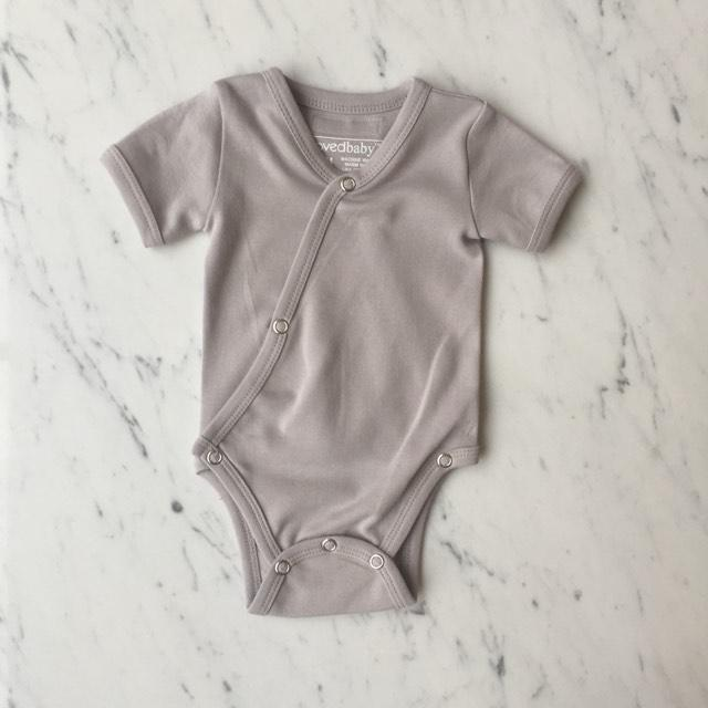 Organic Short-Sleeve Kimono Bodysuit - Light Gray by Loved Baby Loved Baby Apparel
