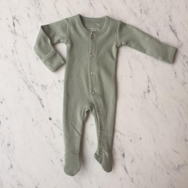 Organic Footed Overall - Seafoam by Loved Baby
