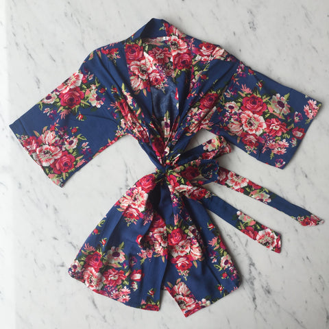 Kids Robe - Blue Floral / 3-5Y by May and Joy