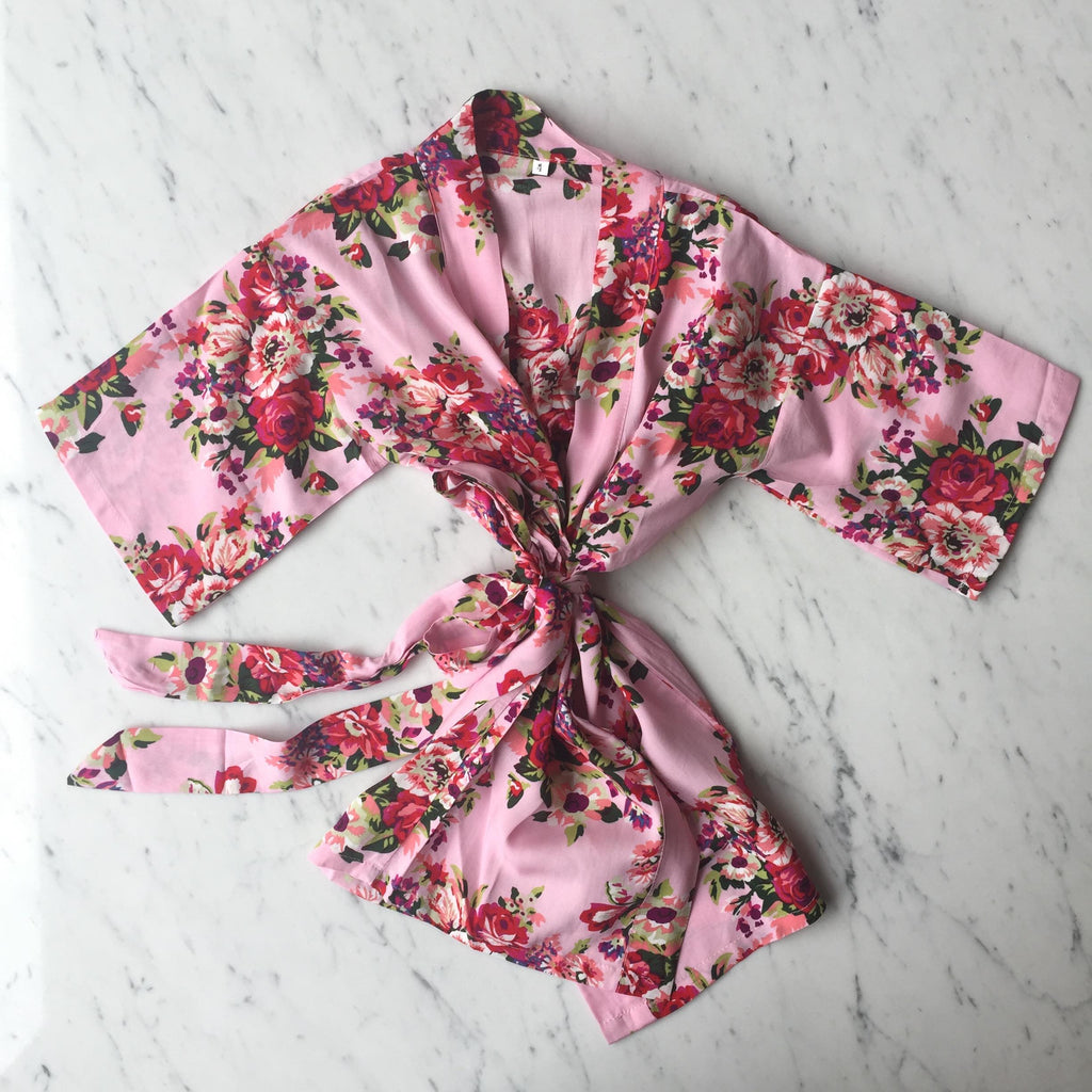 Kids Robe - Pink Floral / 3-5Y by May and Joy