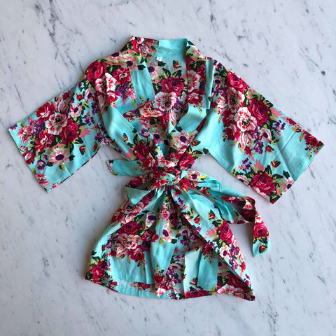 Kids Robe - Light Blue Floral / 3-5Y by May and Joy