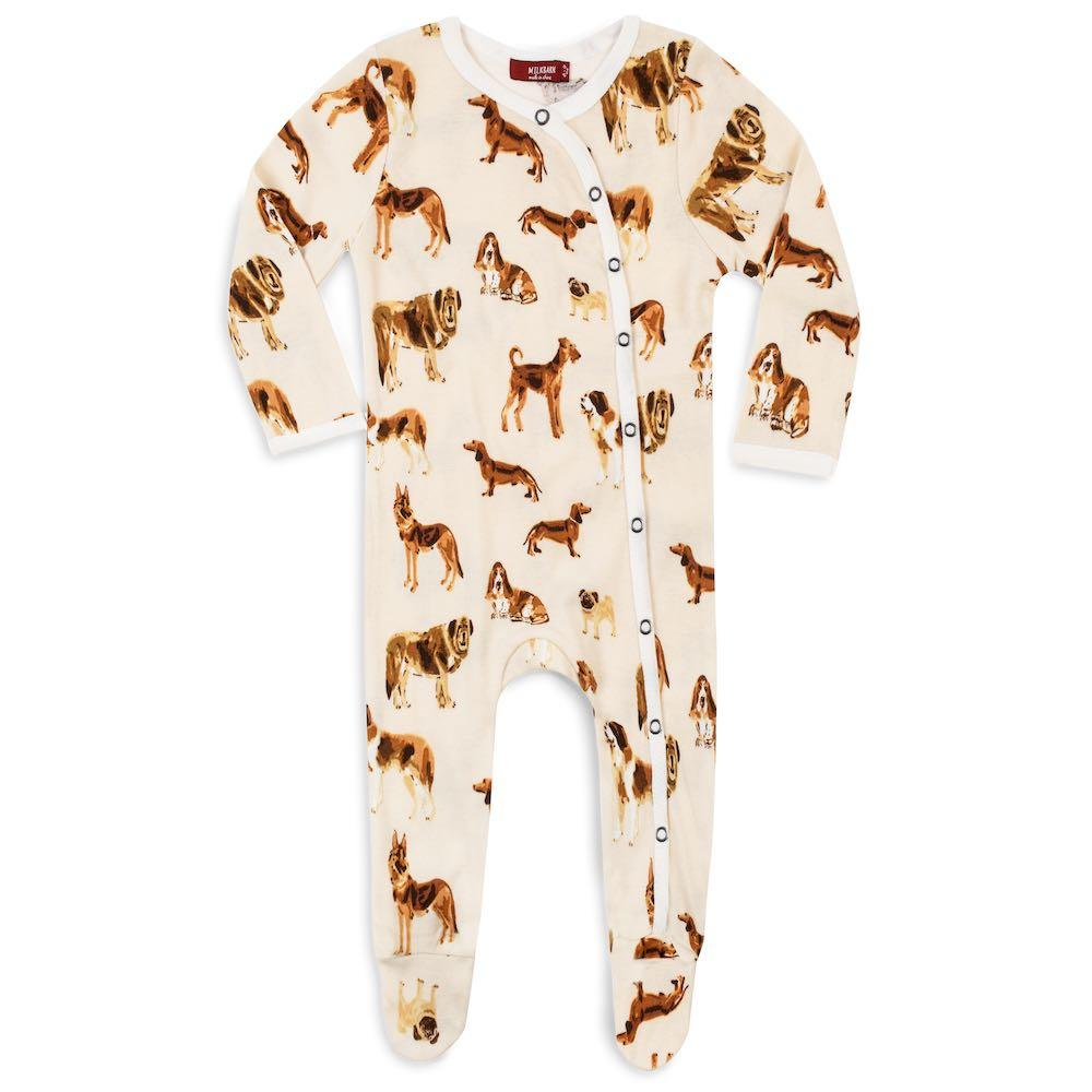 Milkbarn Organic Footed Romper - Natural Dogs