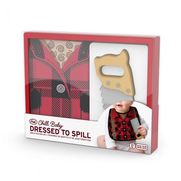 Dressed to Spill Bib + Teether Set - Buffalo Plaid by Fred + Friends