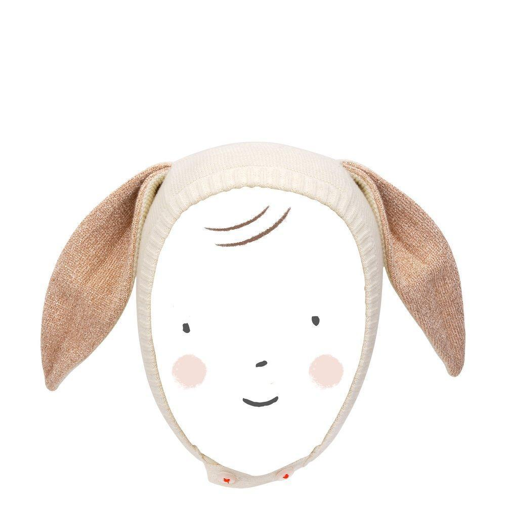 Peach Sparkle Bunny Baby Bonnet by Meri Meri Meri Meri Accessories