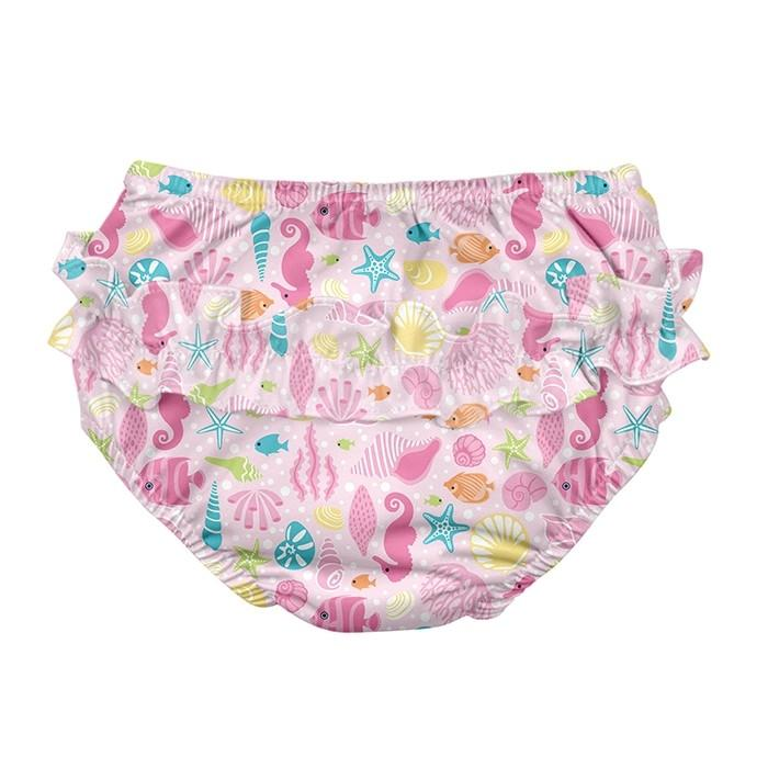 Ruffle Snap Reusable Absorbent Swimsuit Diaper - Pink Sealife by iPlay